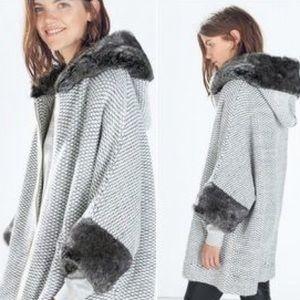 Zara Knit Fur-Trim Poncho